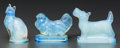 Art Glass:Other , Three Sabino Opalescent Glass Figures: Pouf, ChienPaf & Chat, Paris, France, post 1935... (Total: 3Items)