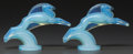 Art Glass:Other , A Pair of Sabino Opalescent Glass Gazelle Hood Ornaments,Paris, France, post 1935. Marks: SABINO, PARIS. 6-...(Total: 2 Items)
