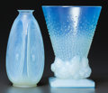 Art Glass:Other , Two Sabino Opalescent Glass Vases: Le Alvéoles andPigeons, Paris, France, post 1935. Marks to both: S...(Total: 2 Items)
