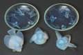 Art Glass:Other , A Group of Five Sabino Opalescent Glass Table Items, Paris, France,post 1935. Marks: SABINO, FRANCE. 3-1/2 inches diame...(Total: 5 Items)