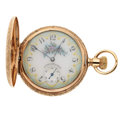 Timepieces:Pocket (post 1900), Rare O'Hara Fancy Dial 10k Gold Hunter's Case Pocket Watch. ...