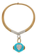 Estate Jewelry:Necklaces, Diamond, Turquoise, Gold Enhancer-Necklace, Hammerman Bros.. ...