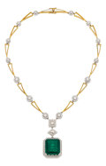 Estate Jewelry:Necklaces, Colombian Emerald, Diamond, Mother-of-Pearl, Gold Necklace. ...