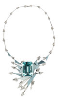 Estate Jewelry:Necklaces, Aquamarine, Diamond, Platinum Necklace. ...
