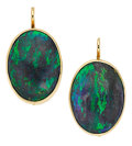 Estate Jewelry:Earrings, Boulder Opal, Gold Earrings. ... (Total: 2 Items)