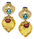 Estate Jewelry:Earrings, Diamond, Multi-Stone, Gold Earrings, Baten. ...