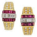 Estate Jewelry:Earrings, Diamond, Ruby, Gold Earrings. ... (Total: 2 Items)