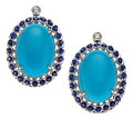 Estate Jewelry:Earrings, Turquoise, Sapphire, Diamond, White Gold Earrings. ... (Total: 2Items)