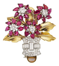 Retro Diamond, Ruby, Moonstone, Platinum, Gold Pendant-Brooch