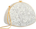 "Luxury Accessories:Bags, Judith Leiber Full Bead White & Silver Crystal Fan MinaudiereEvening Bag. Excellent Condition.  6.25"" Width x 4.5""He..."