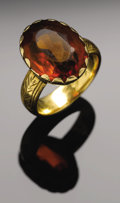 "Antiques:Textiles, Sam Houston. Gold ring with topaz stone given by Sam Houston to his wife. ""Ladies topaz 14K yellow gold (tested) ring, late ..."