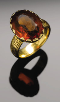 """Sam Houston. Gold ring with topaz stone given by Sam Houston to his wife. """"Ladies topaz 14K yellow gold (tested) ri..."""