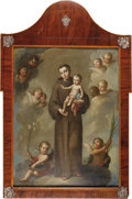 Antiques:Posters & Prints, Jose De Paez, Oil on Copper Painting of Saint Antonio ca. 1775, signed, lower left hand corner by Jose de Paez. De Paez was...