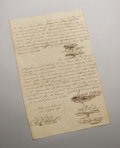 Autographs:Statesmen, James Bowie Signed Document. Dated January 5, 1836. Small folio31.6 x 20 cm. Very good copy neatly penned with flourishing ...(Total: 3 Items)