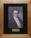"""Autographs:Statesmen, """"Father of Texas"""" Stephen F. Austin Signature. Stephen F. Austin,one of Texas' forefathers, signs his piece of paper in cri..."""
