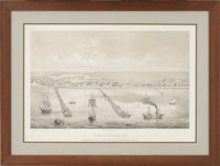 Helmut Holtz - Birds-eye View of Indianola. Taken from the Bay on the Royal Yard, on board the Barque Texana, Sept. 1860...
