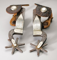 """P.M. Kelly, Magnificent circa 1920s Kelly Bros. """"Devil River Specials"""" spurs. Of all the patterns produced by..."""