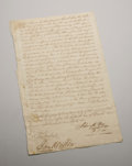 "Autographs:Statesmen, Sam Houston. Document Signed. Dated: Nacogdoches, September 15,1836. A handsome legal document, 14"" x 8"", identified on t..."