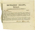 Autographs:Statesmen, [Edwards Grant]. Haden Edwards. Printed document completed in manuscript, signed by Haden Edwards. N.p., [dated in manusc...