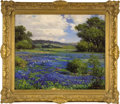 """Antiques:Posters & Prints, Robert Wood, Oil on canvas of Texas landscape with bluebonnets, cactus and wildflowers, 25"""" x 30"""". Note: This painting is c..."""