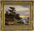 """Antiques:Posters & Prints, Robert Wood, Untitled oil on canvas of seascape with crashing wavesover boulders, sunset and large tree on hill, 25"""" x 30"""",..."""