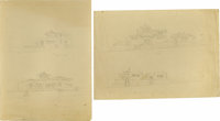 Frank Reaugh. Two sketches for EL Sibil - S.E. From the Street/S.E. From the Lake and untitled. Davis, Jessie Fremont Sn...