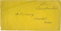 Autographs:Statesmen, Sam Houston. Free Frank Sam Houston. A boldly signed free frank onbright yellow envelope. A fine copy. The franking privi...