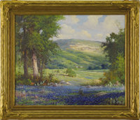 Wood, Robert. Oil on canvas, 25 x 30 - Texas Landscapes with Bluebonnets, cactus and wildflowers. Note: Considered by so...