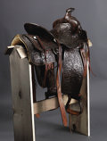 Western Expansion:Cowboy, S. D. Myres Texas Cowboy Reunion Trophy Saddle. Floral carved circa 1930s trophy saddle presented at the Texas Cowboy Reunio...