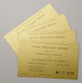 "Political:Miscellaneous Political, John F. Kennedy. Four tickets to ""Texas Welcome"" dinner in honor of President John F. Kennedy and Vice President Lyndon B. J... (Total: 2 Items)"