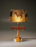 Antiques:Folk Art, Prolific Photographer Wilfred D. Smithers Designed Lampshade andLamp. Wilfred D. Smithers was certainly Texas' version of ...(Total: 2 Items)