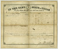 Autographs:Statesmen, Texas Governor Sam Houston Document Signed. Ornate land grant onvellum, partially printed on recto, completed in manuscript...