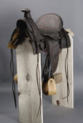 Western Expansion:Cowboy, Ramsey-Ford Half Seat 1880s Texas Stock Saddle This extremely raretrail drive-era saddle made by Ramsey-Ford, San Antonio, ...