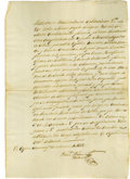 Political:Miscellaneous Political, Juan Antonio Padilla Document Signed. One page, folio, Monterey,March 30, 1821. Signed in full with rubric. This document i...