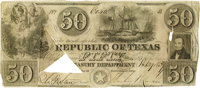 $50 Republic of Texas Note. Courtesy of John Rowe, Dallas. Consigned Lot. The high bid placed by via mail, fax, the