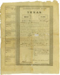 Political:Small Paper (pre-1896), Consolidated Fund of Texas Certificate, No. 5537, for $1,000.Signed by M. Simmons, Comptroller and Jackson Smith, Stock Com...