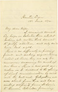 Political:Miscellaneous Political, Braxton Bragg Autograph Letter Signed to his wife Elisa, dated atHouston, June 18, 1874. 4 pp., 12mo, ruled paper folder. ...