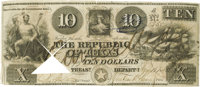$10 Republic of Texas Note. Courtesy of John Rowe, Dallas. Consigned Lot. The high bid placed by via mail, fax, the