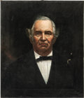 """Antiques:Textiles, American School (Texas, 19th Century). Portrait of SamHouston Oil on canvas . 26"""" x 22"""". Not signed. The stronglightin..."""