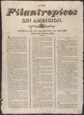 Antiques:Posters & Prints, 1823 Texas Broadside- The First Document Calling for a RepublicanForm of Government in Texas- the Only Copy Known in Private ...