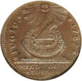 1787 1C Fugio Cent, STATES UNITED, Cinquefoils MS64 Brown NGC. Newman 8-X, R.1. The smooth surfaces are lustrous and exh...