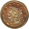 1856 1/2 C PR65 Brown PCGS. B-3, R.4. The T in CENT is doubled, diagnostic for Breen-3. According to Breen's Encyclopedi...