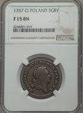 Poland: Stanislaus Augustus copper Pattern 3 Groschen 1767-CI F15 Brown NGC