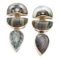 Estate Jewelry:Earrings, Mabe Pearl, Agate, Beryl, Sterling Silver Earrings, Stephen Dweck....