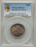 British West Africa, British West Africa: British Colony. George V Shilling 1913-H MS64+PCGS,...