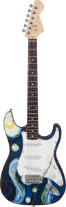 Musical Instruments:Electric Guitars, Stratocaster Copy Starry Night Inspired Handcrafted Guitar ProceedsBenefit the Austin Disaster Relief Network. ...