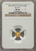 California Fractional Gold , 1872 25C Indian Octagonal 25 Cents, BG-791, R.3, MS66 NGC. NGCCensus: (3/2). PCGS Population (4/0). ...