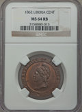 Liberia, Liberia: Republic Cent 1862 MS64 Red and Brown NGC,...