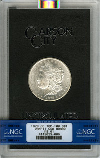 1878-CC $1 GSA, Lines in Wing, VAM-11, MS61 NGC. TOP-100. Ex: The Lenny Reiner Collection Part II. NGC Census: (924/1478...