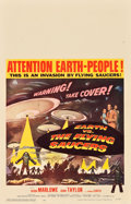 "Movie Posters:Science Fiction, Earth vs. the Flying Saucers (Columbia, 1956). Window Card (14"" X22"").. ..."
